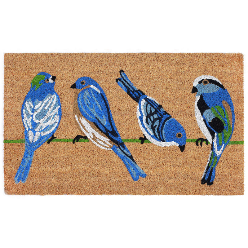 "Natura Blue Birds Outdoor Mat Natural 18""X30"" NTR12206112 - Comstrom"