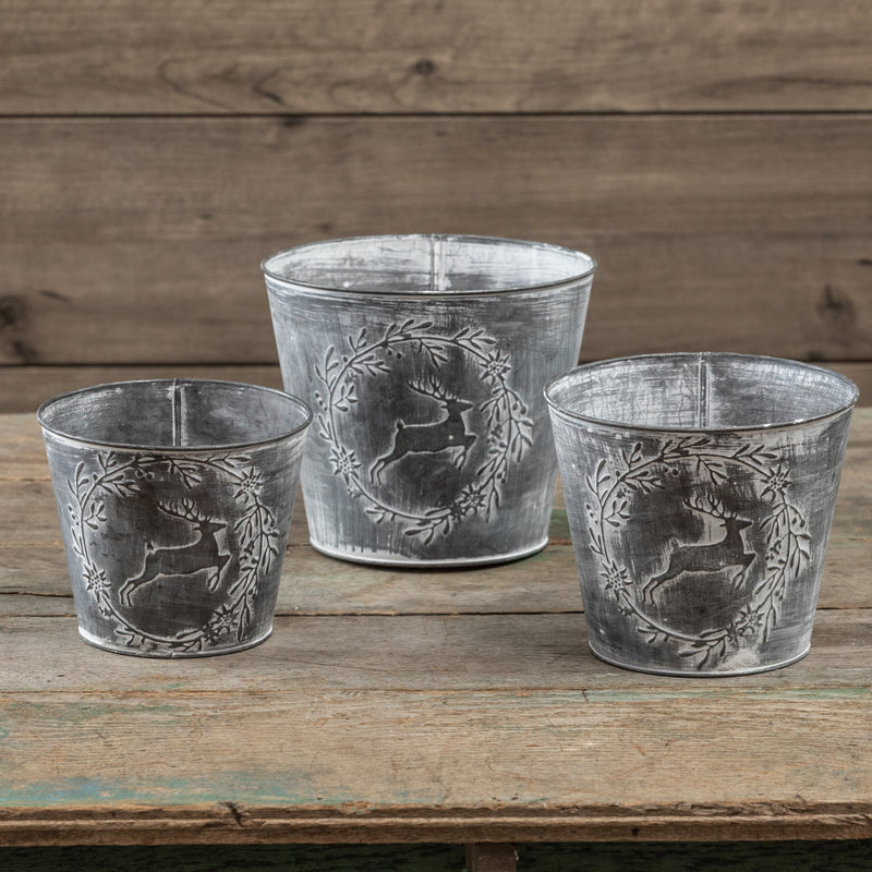 Ragon Set Of 3 Deer Print Pots (Pack Of 2) ZH187545