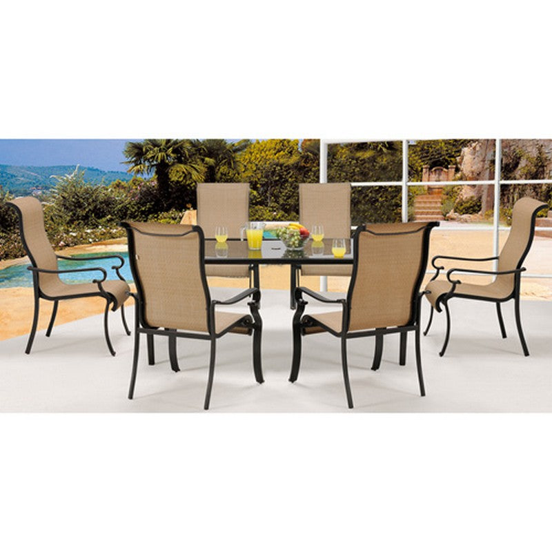 Brigantine 7 Piece Dining Set ( Alum. Glass Table, 6 Sling Chairs) | Comstrom