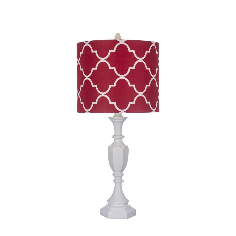 Fangio 25 Inch White Polyresin Table Lamp With Red Shade 6192Rd - Comstrom