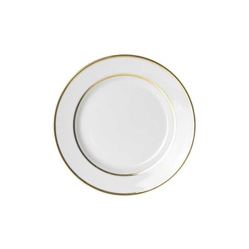 "10 Strawberry Street Gold Double Line 6.75"" Bread & Butter Plates- Pack Of 24 GLD0005 - Comstrom"