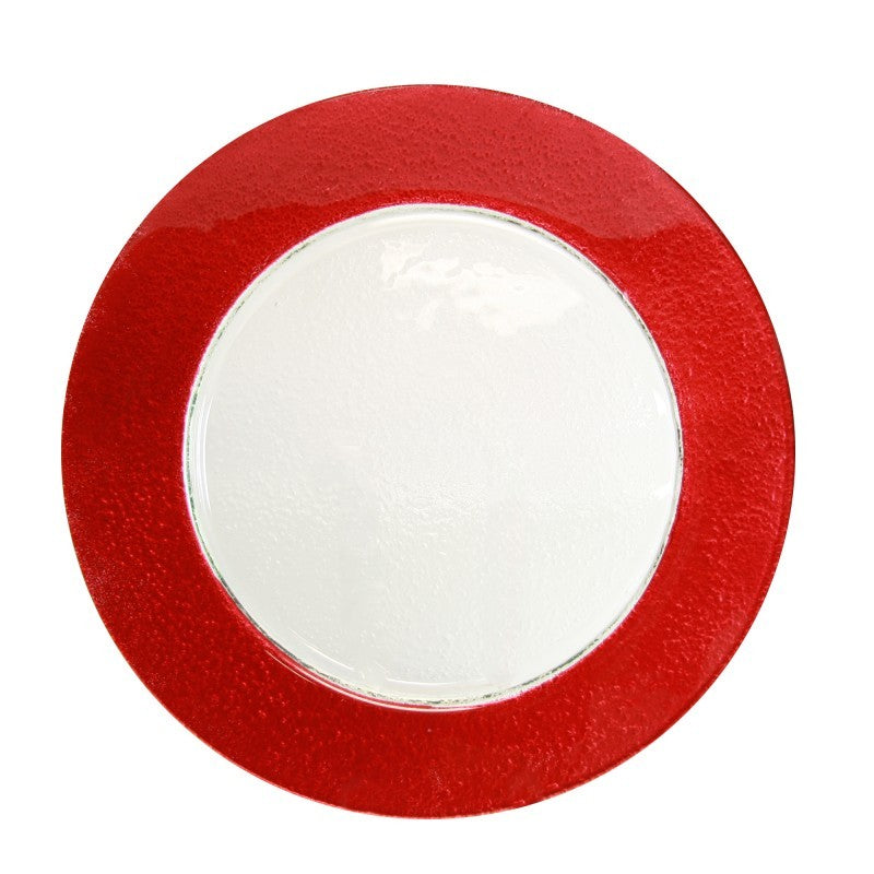 "10 Strawberry Street Halo Colored 13"" Red Rim Glass Charger Plates- Pack Of 12 HAL-RED340 - Comstrom"
