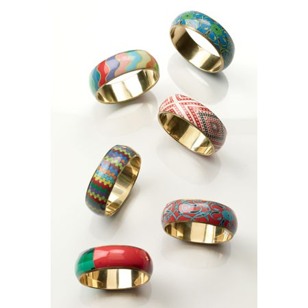 Patterned Bangles Assorted 6 (Pack Of 12) 13225