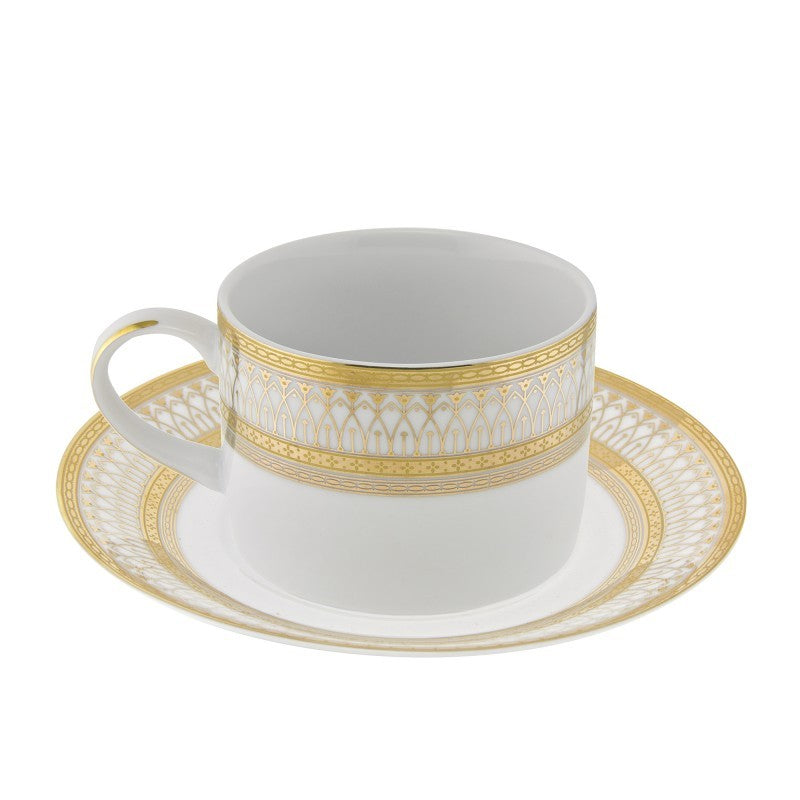 10 Strawberry Street Iriana 8-Ounces Gold Can Cup/Saucer- Pack Of 24 IRIANA-9GLD - Comstrom