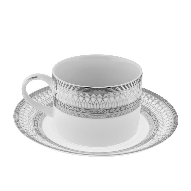 10 Strawberry Street Iriana 8-Ounces Silver Can Cup/Saucer- Pack Of 24 IRIANA-9SLV - Comstrom