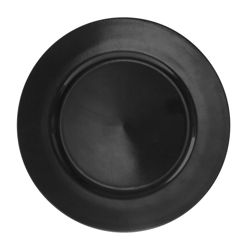 "10 Strawberry Street Lacquer Round 13"" Black Charger Plates- Pack Of 24 LABLK-24 - Comstrom"