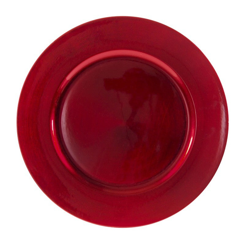 "10 Strawberry Street Lacquer Round 13"" Red Charger Plates- Pack Of 24 LARD-24 - Comstrom"