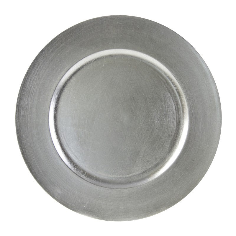"10 Strawberry Street Lacquer Round 13"" Silver Charger Plates- Pack Of 24 LAS-24 - Comstrom"