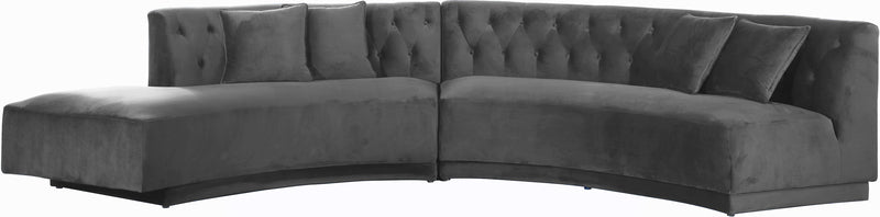 Kenzi Grey Velvet 2 Piece Sectional 641Grey-Sectional By Meridian Furniture