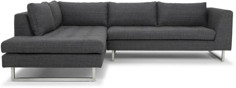 Nuevo Janis Sectional Sofa - Dark Grey Tweed/Silver Hgsc266 - Comstrom