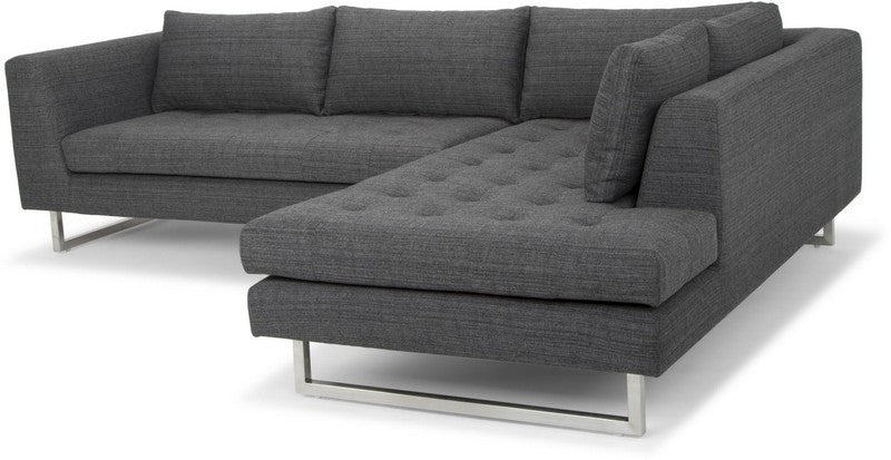 Nuevo Janis Sectional Sofa - Dark Grey Tweed/Silver Hgsc267