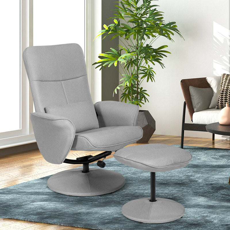 Fabric Massage Swivel Lounge Recliner With Ottoman-Light Gray HW63914LG