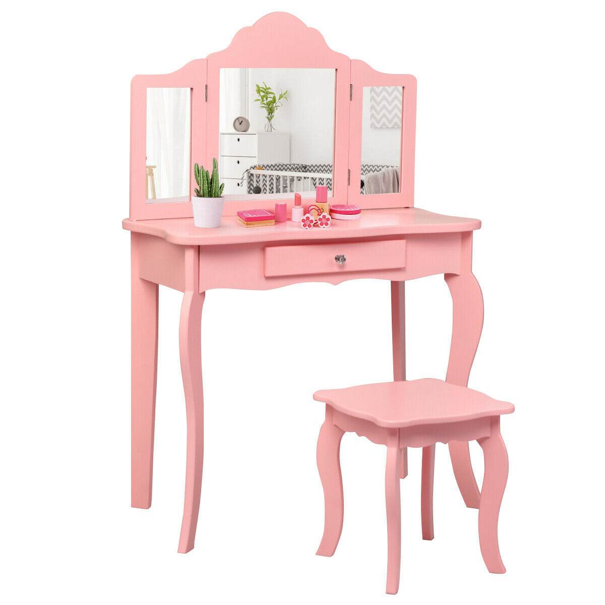 Kids Makeup Dressing Mirror Vanity Table Stool Set-Pink ...