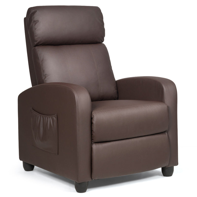 Pu Leather Massage Recliner Chair With Footrest-Brown HW64114CF