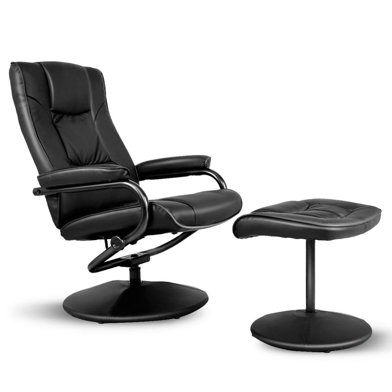 Swivel Lounge Chair Recliner With Ottoman-Black HW51430BK