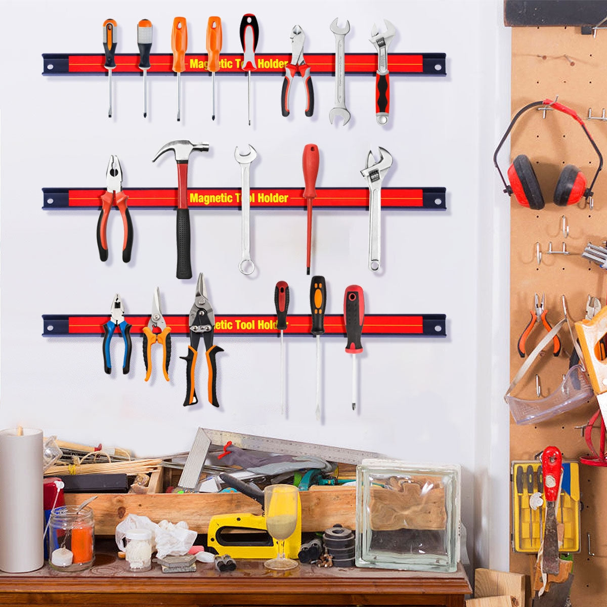 "and Office 18/"" Magnetic Tool BarOrganizer Holder Rack for Garage Kitchen"