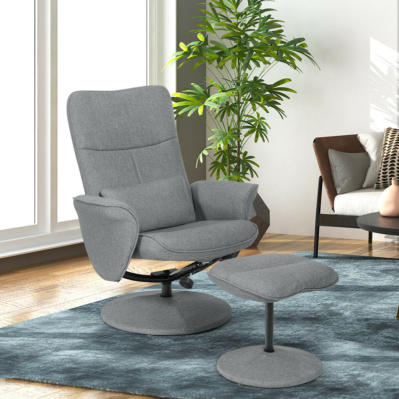 Fabric Massage Swivel Lounge Recliner With Ottoman-Gray HW63914GR