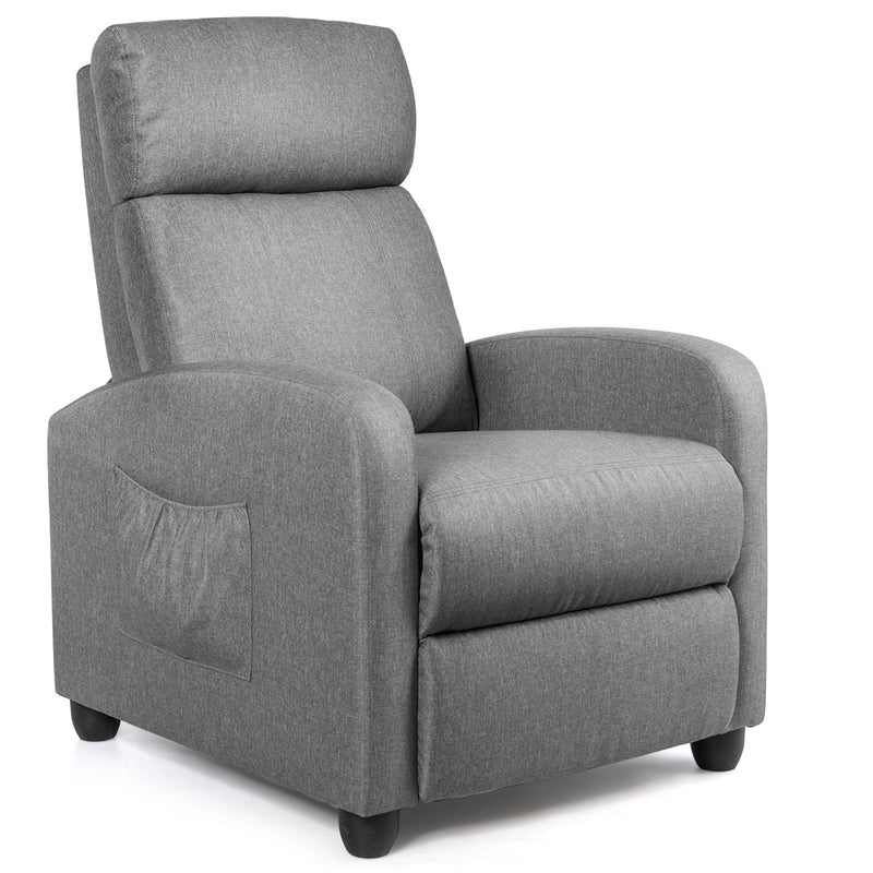 Pu Leather Massage Recliner Chair With Footrest-Gray HW64114GR