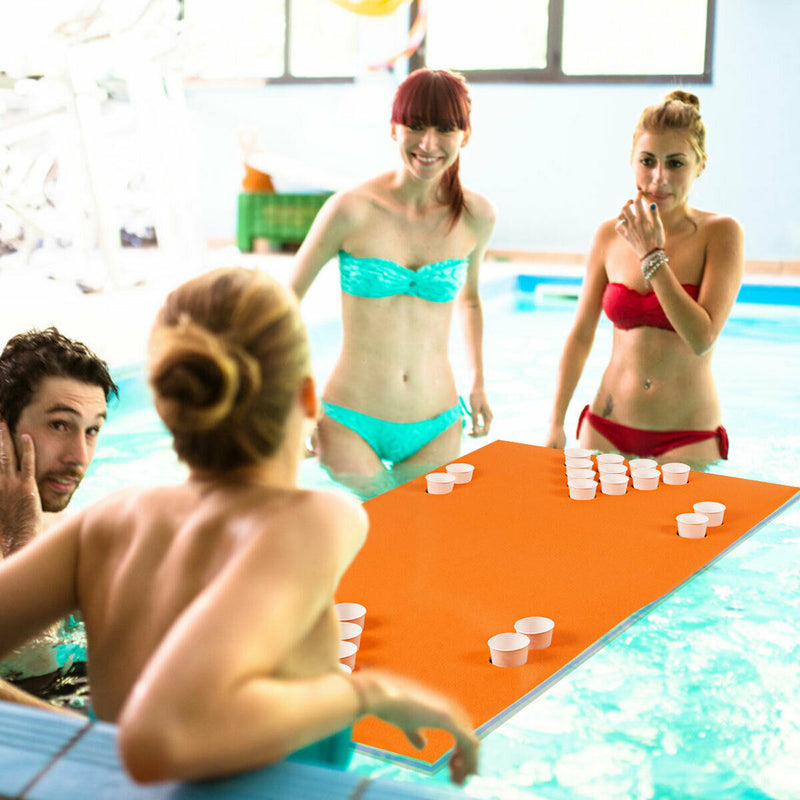 3-Layer Multi-Purpose Floating Beer Pong Table-Orange OP70257OR