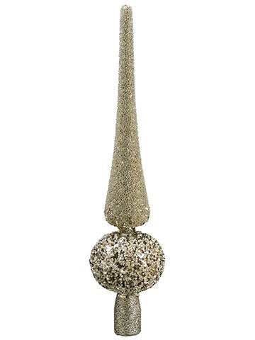 "12"" Beaded Finial Tree Topper In Acetate Box Champagne Glittered 12 Pieces XN8362-CN/GL - Comstrom"