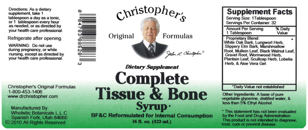 Complete Tissue & Bone Syrup 16 oz. Label