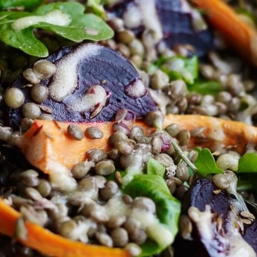 Roasted beetroot, carrot, lentil and cumin salad