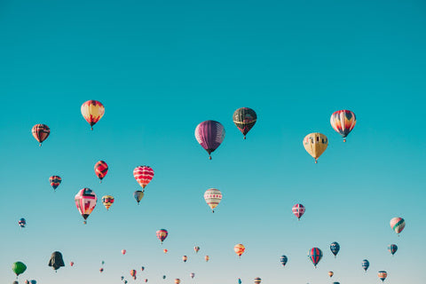 Sky of hot air balloons, for Ivy Leaf Skincare blog
