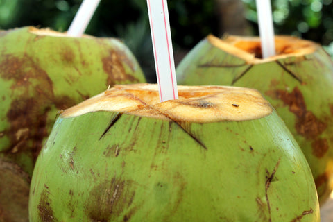 Straw in open coconut, for Ivy Leaf Skincare blog