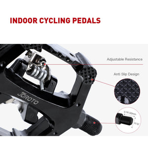 "JOROTO SPD Pedals, Cleats with Toe Cages, Clips and Straps for Spin Bike, Indoor Exercise Bikes with 9/16"" axles, 1 Year Warranty - jorotofitness"