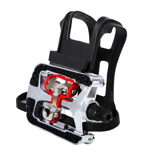 JOROTO SPD Pedals, Cleats with Toe Cages, Clips and Straps for Spin Bike, Indoor Exercise Bikes with 9/16