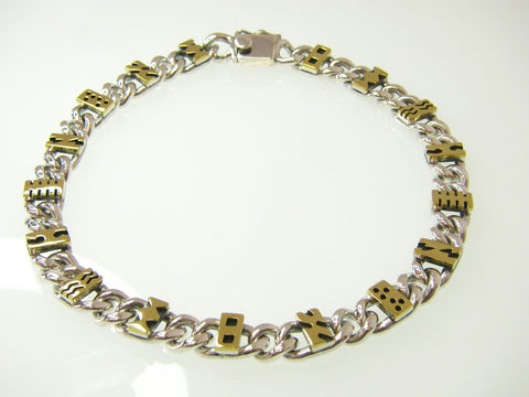 Chain necklace with brass accents