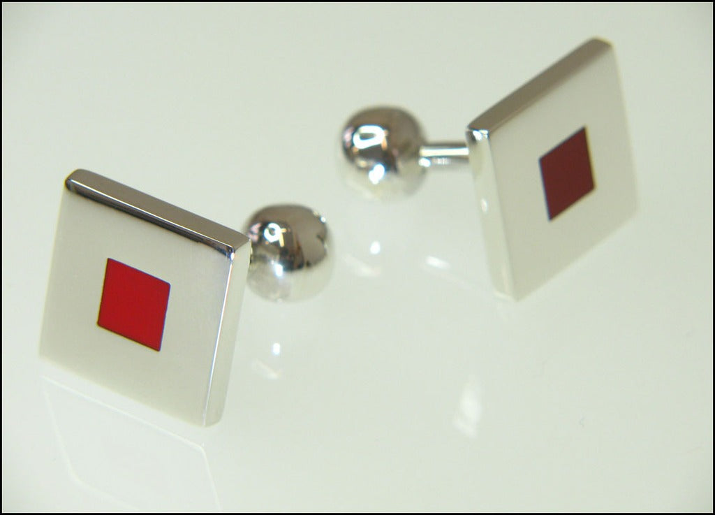 Red square cufflinks (fixed )