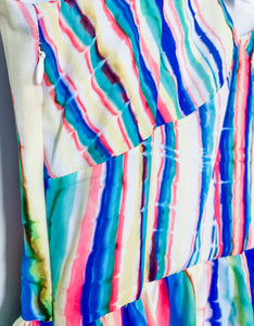 Rainbow Chiffon Tiered Ruffle Dress