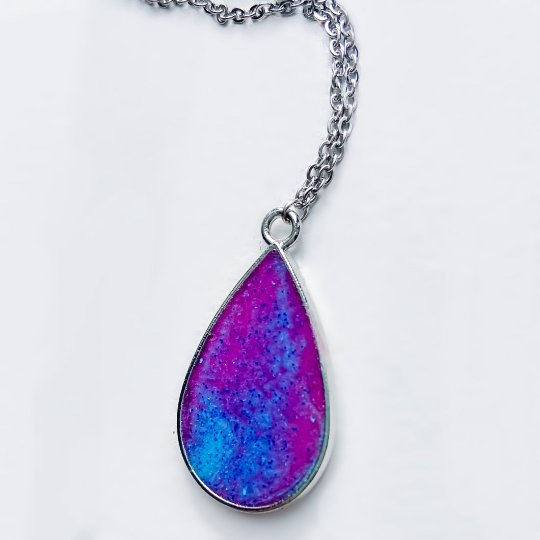 Handmade Glitter Resin Drop Pendant Stainless Steel Necklace