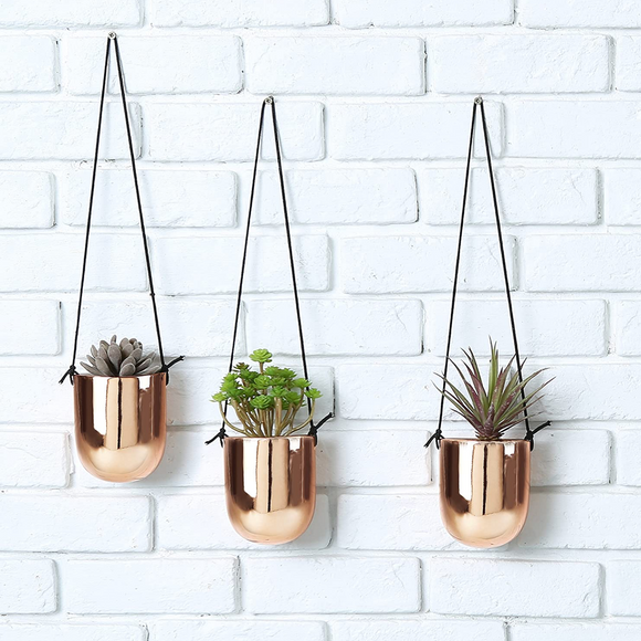 Metallic Copper Glazed Ceramic Hanging Succulent Planters