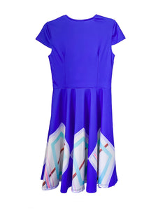 Blue Moon Cap Sleeve Sweetheart Neck Ruched Retro Dress