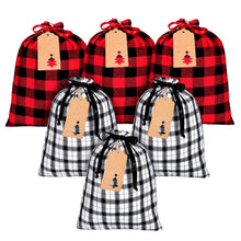 Load image into Gallery viewer, Zero Waste Set of 6 Reusable Holiday Plaid Gift Bags