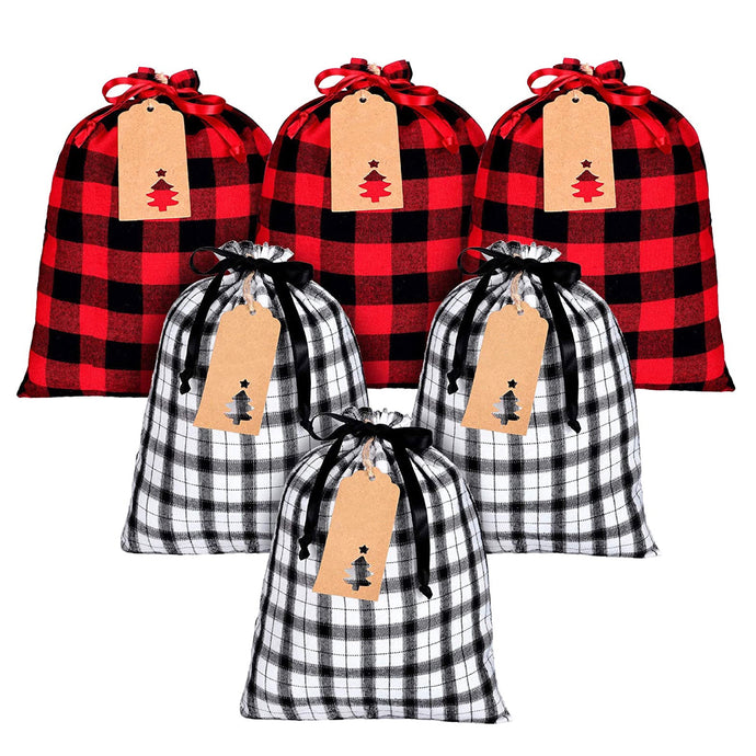 Zero Waste Set of 6 Reusable Holiday Plaid Gift Bags