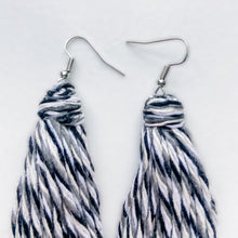 Load image into Gallery viewer, Handmade Black and White Tassel Earrings