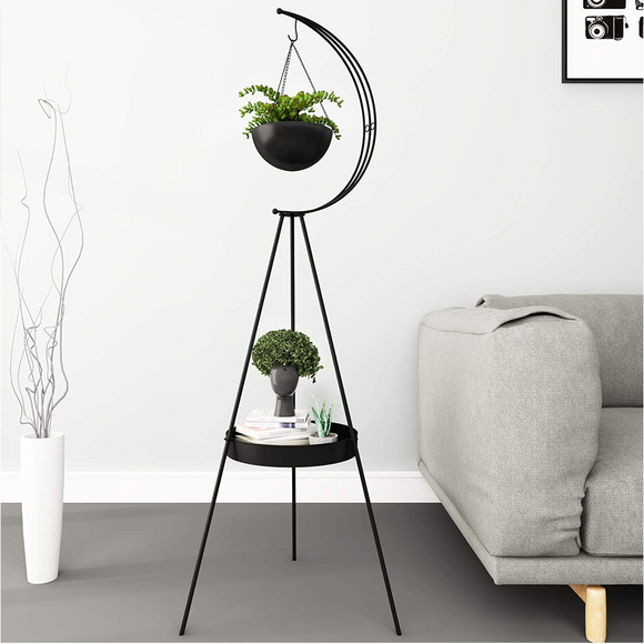 Half Moon Metal Double Layer Plant Stand
