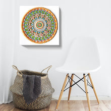 "Load image into Gallery viewer, ""On Redirection"" Frosting and Gold Leaf Mandala Canvas Print"