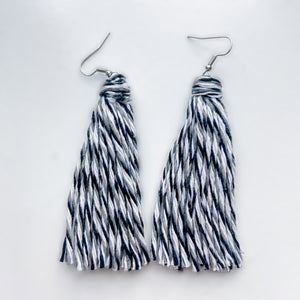 Handmade Black and White Tassel Earrings
