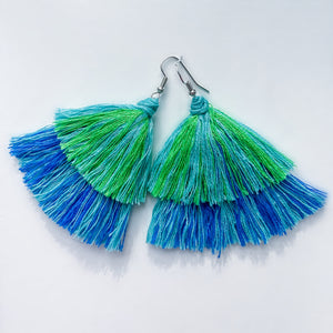 Handmade Tiered Multi-Colored Tassel Earrings
