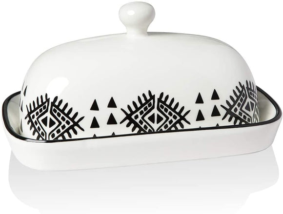 Large Black and White Butter Dish