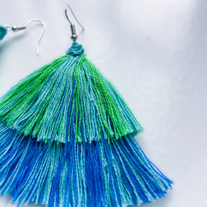 Handmade Tiered Multi-Colored Tassel Earrings Handmade Tiered Multi-Colored Tassel Earrings Handmade Tiered Multi-Colored Tassel Earrings