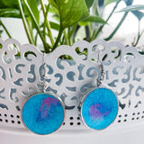 Handmade Glitter Resin Circle Stainless Steel Earrings