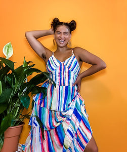Dripping Rainbow Chiffon Tiered Ruffle Maxi Dress