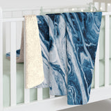 Blue Serenity Now Sherpa Throw Blanket
