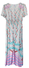 Load image into Gallery viewer, Pastel Rainbow Chevron Silky Button Front Maxi Dress