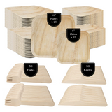 Zero Waste Recycled Palm Leaf and Birch Wood Disposable Dining Set—(150 Piece)